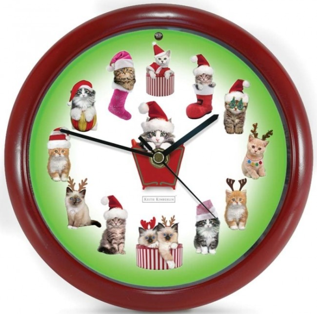 Musical Christmas Carols Cute Kittens Novelty Office Desk or Wall Clock