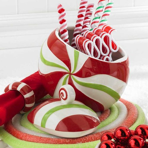 Peppermint Red  Green Swirl Lidded Canister Decoration Gifts Christmas