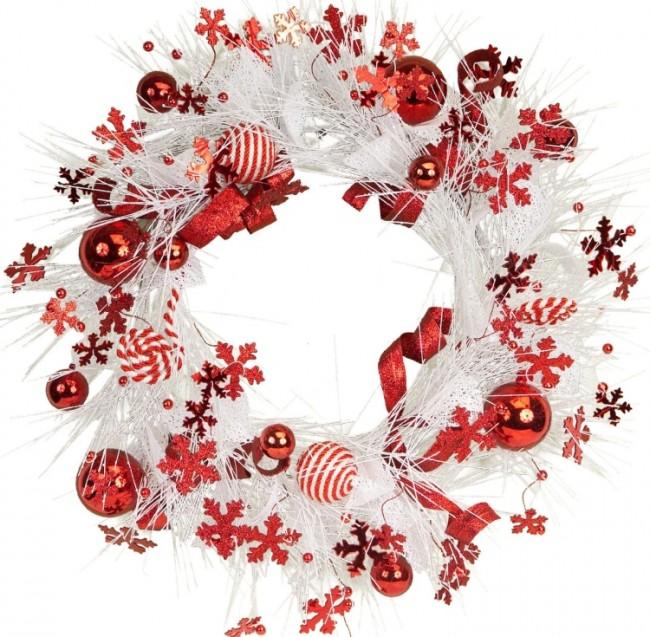 Pine Wreath with Festive RedWhite BallsSnowflakes Accents