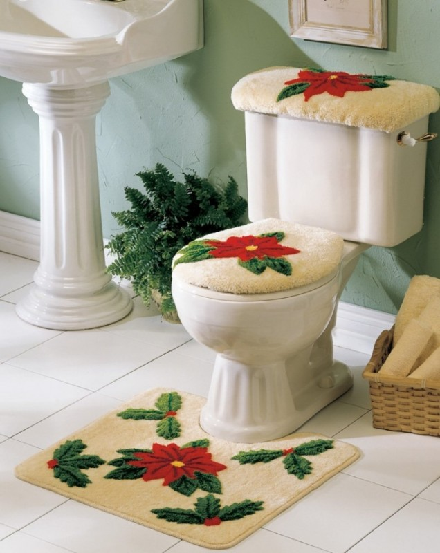 Poinsettia Toilet Seat Set