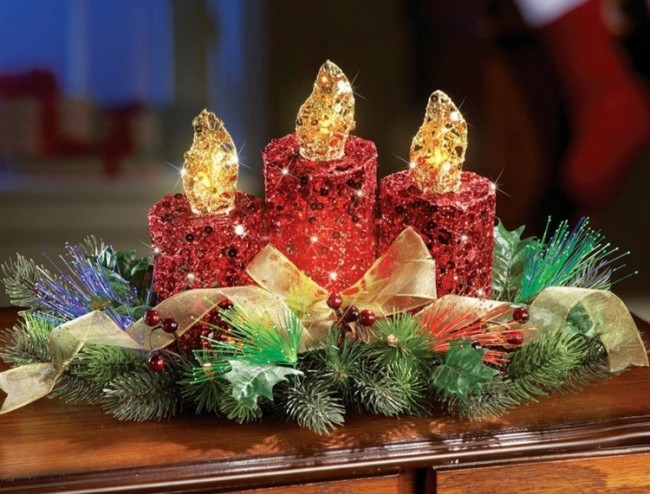 Red Glitter Candles Lighted Centerpiece Decoration