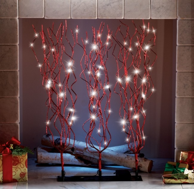 Red Glitter LED Lighted Holiday Branches