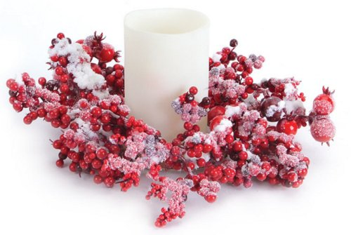 Red Mixed Berry Christmas Pillar Candle Rings