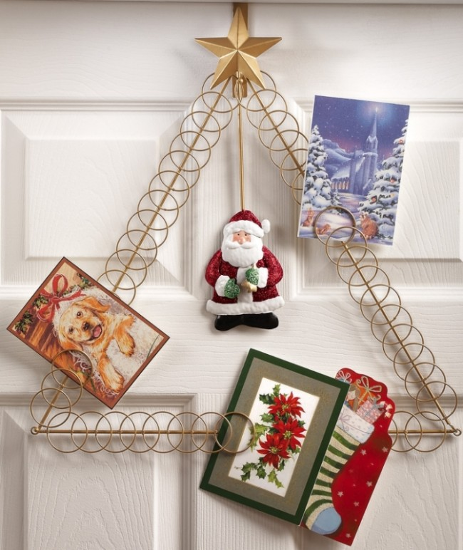 Santa Claus Over The Door Holiday Tree Card Holder