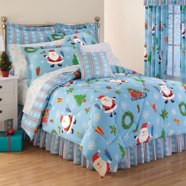 Santa Claus Snowflakes Christmas Twin Comforter Set