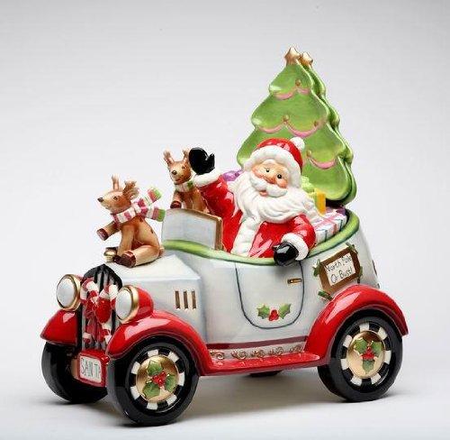 Santa Driving Cookie Jar