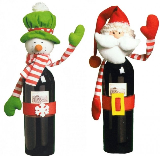 Santa and Snowman Wine Bottle Covers Set of 2
