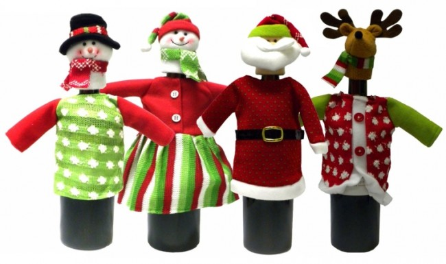Set of 4 Christmas Theme Holiday Wine Bottle Gift Covers