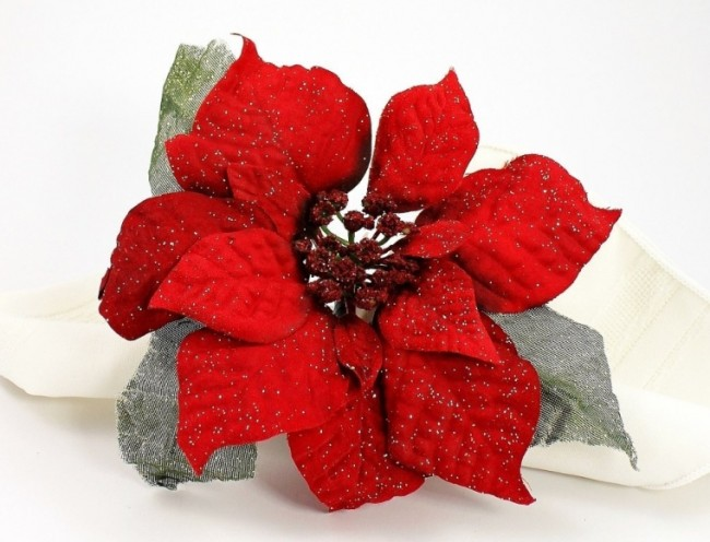 Set of 4 Sheer Leaves Red Poinsettia Holiday Napkin Rings