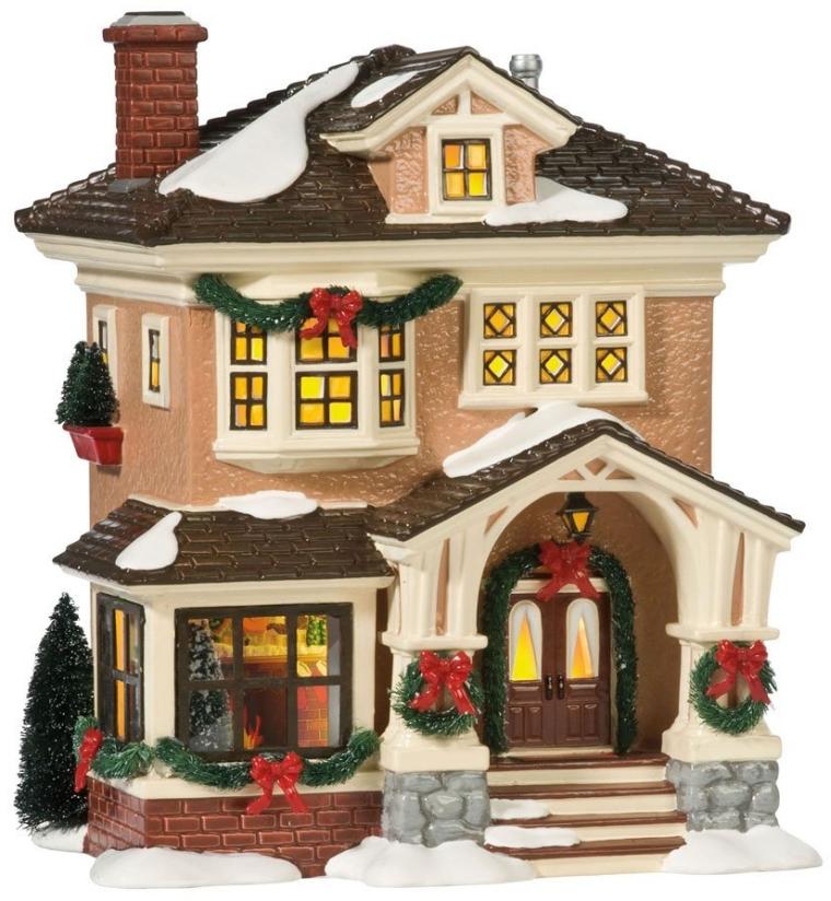 Snow Village Christmas At Grandma's Lit House