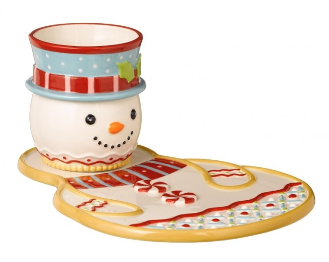 Snowman Plate and Cocoa Cup Set