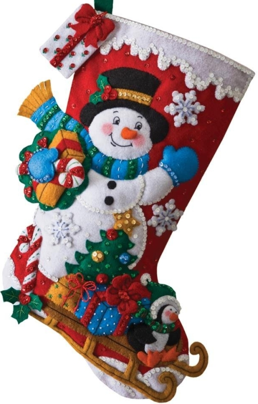 Snowman with Presents Stocking Felt Applique Kit