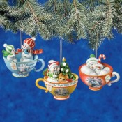 Snowmen Tea Cup Ornaments
