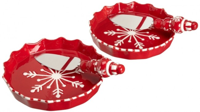 Table Falling Snow Pie Plate and Server Set