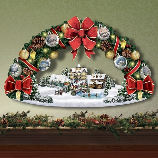 Thomas Kinkade Seasons Greetings Christmas Wreath Sculpture