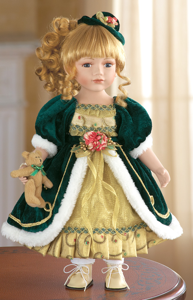 Vivian Holiday Porcelain Collectible Doll Christmas