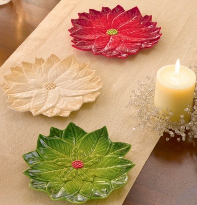 Winter Bloom Poinsettia Plate