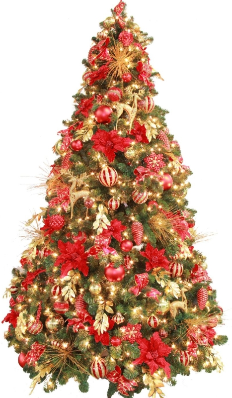 15 Foot Pre Lit Christmas Tree: Fully Decorated Red Gold Pre Lit 7.5ft Christmas Tree
