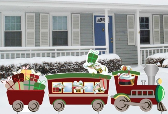 3 Piece Christmas Train Lawn Decoration