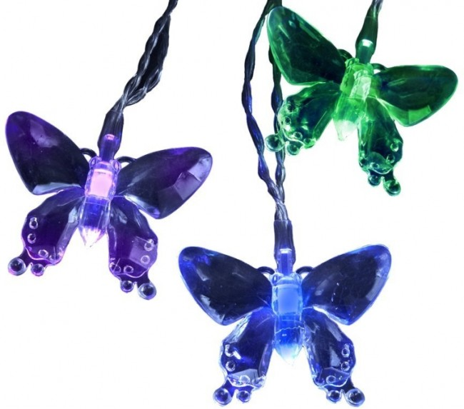 Battery-Operated 10-Light Color Changing LED Butterfly Light Set