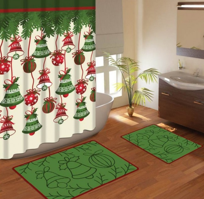 Christmas Bell Decoration Gift Shower Curtains