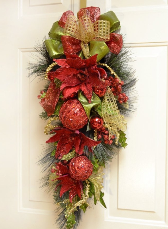 Christmas Poinsettia Door Swag