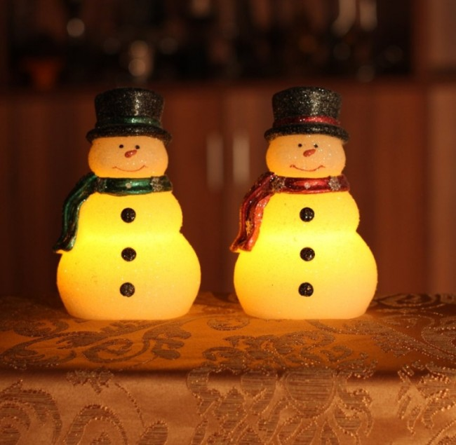 Christmas Snowman with Red and Green Scarf,real Wax Led Candle with Timer