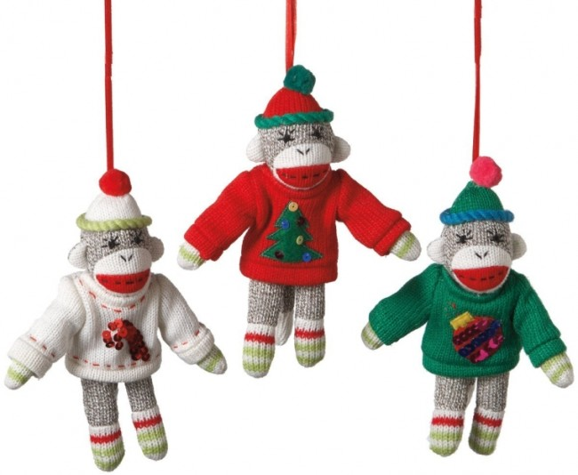 Christmas Sweater Sock Monkey Ornament
