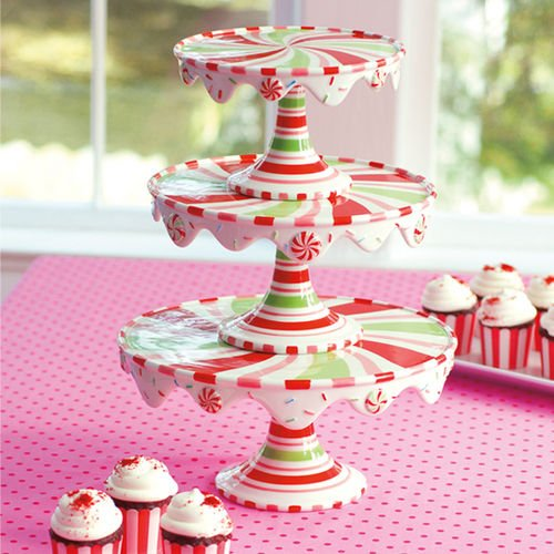 Glitterville Christmas Stacking Cupcake or Cake Pedestal Stands