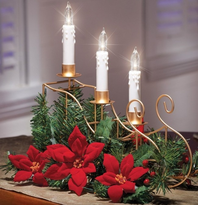 LED Poinsettia Christmas Flowers Centerpiece