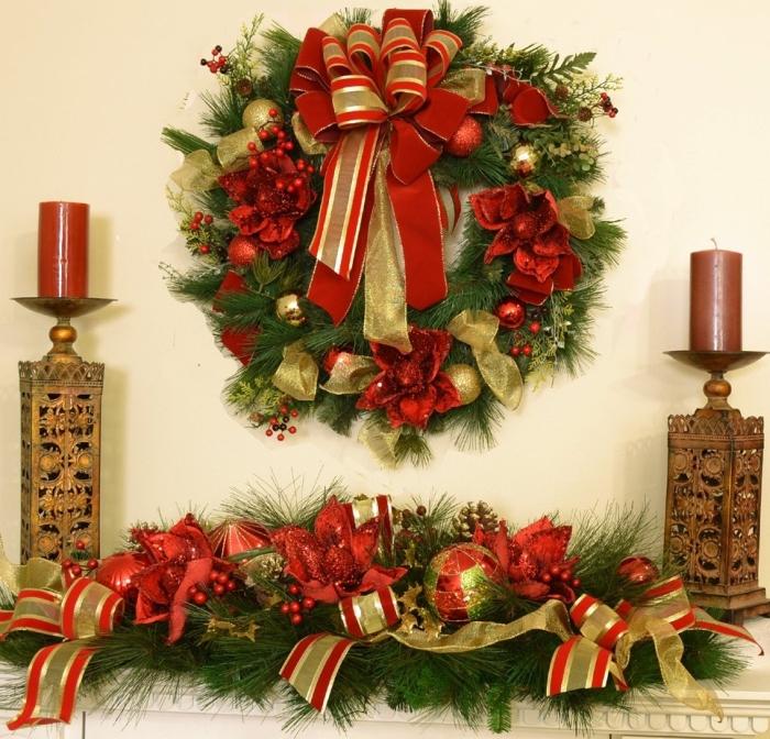 Large Magnolia Christmas Wreath and Centerpiece Set