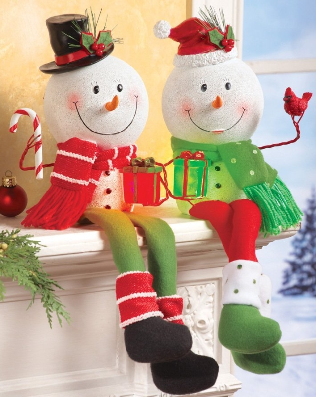 Lighted Snowman Shelf Sitter Holiday Decoration Boy