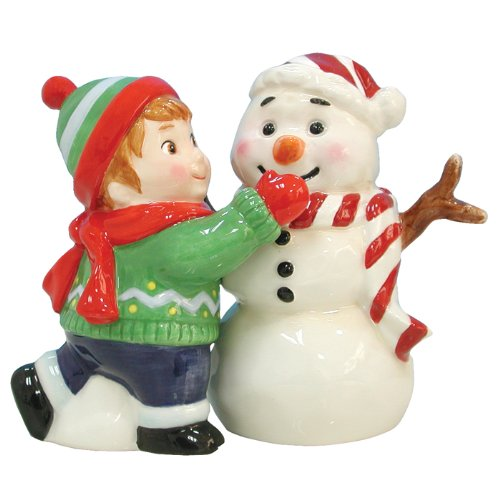 Magnetic Boy Making Snowman Salt and Pepper Shaker
