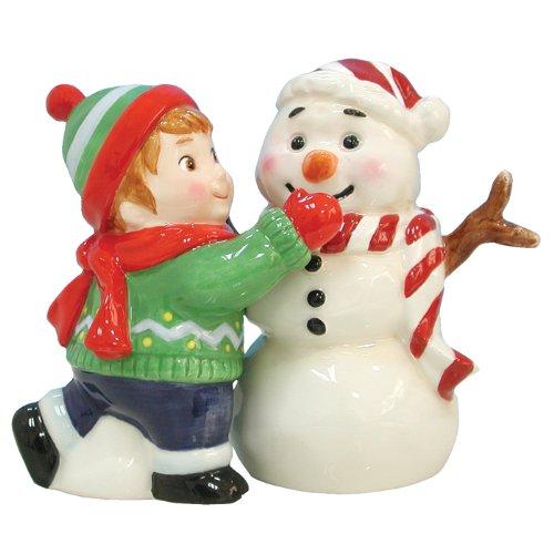 Magnetic Boy Making Snowman Salt and Pepper Shaker