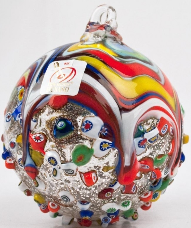 Murano Glass Christmas Ornament with Murrina Fantasia