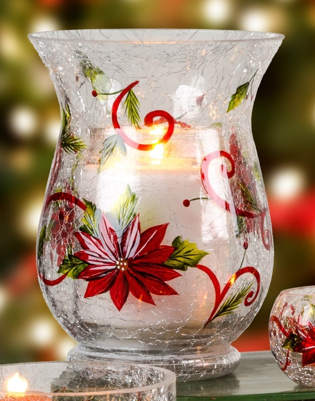 Poinsettia Swirl Crackle Glass Large Hurricane Pillar Candle Holder