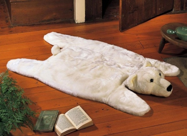 Polar Bear Cabin Decor Accent Rug