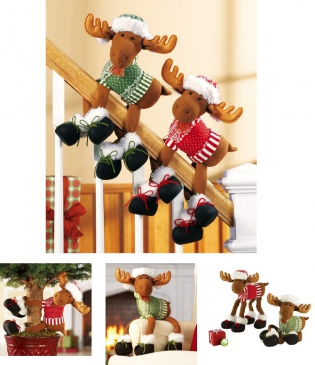 Poseable Moose Holiday Railing Clinger Decoration