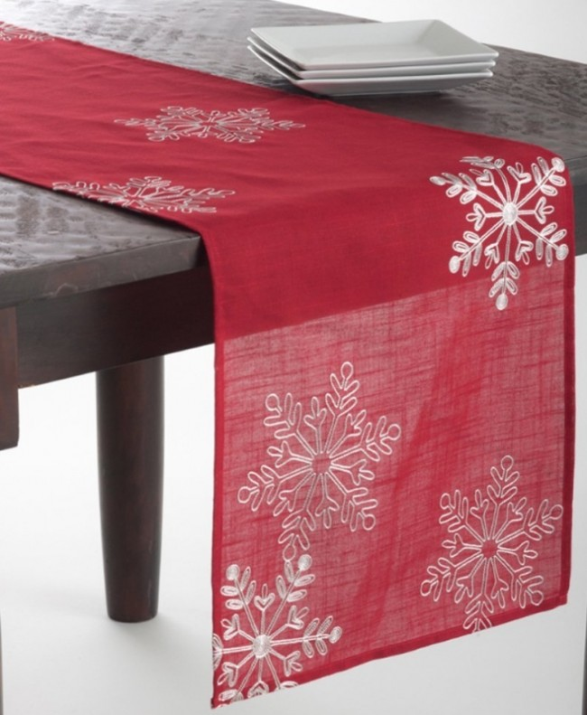red Table Runner Holiday table christmas Christmas runner Christmas  Snowflake   Red