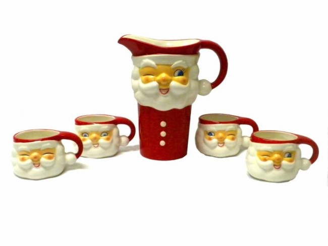 Vintage-style Winking Santa Ceramic Pitcher Cups Set