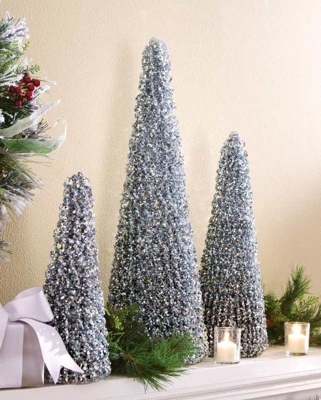 Winter Sparkling Silver Holiday Cone Trees