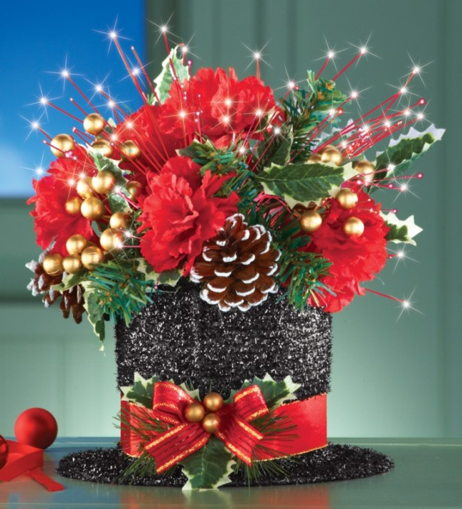 Black Top Hat Christmas Floral Centerpiece
