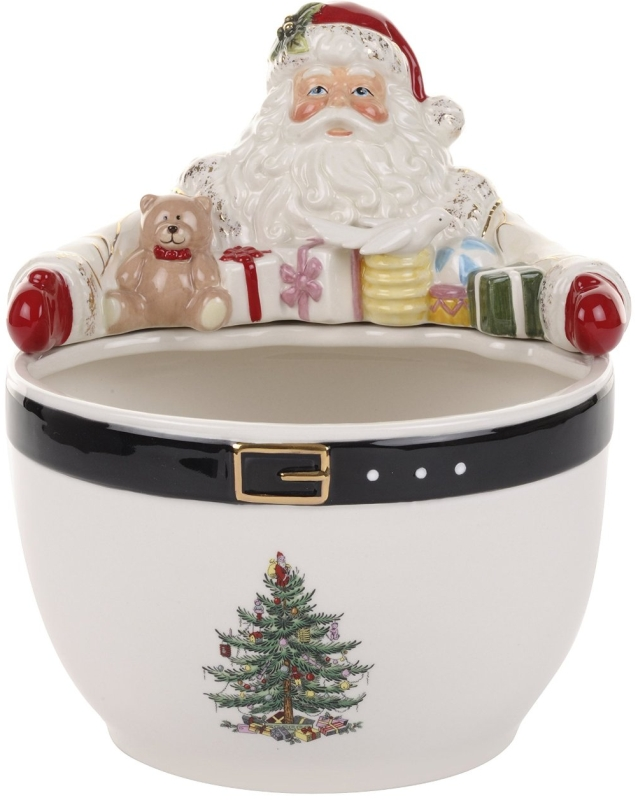 Christmas Tree Santa Nut Bowl
