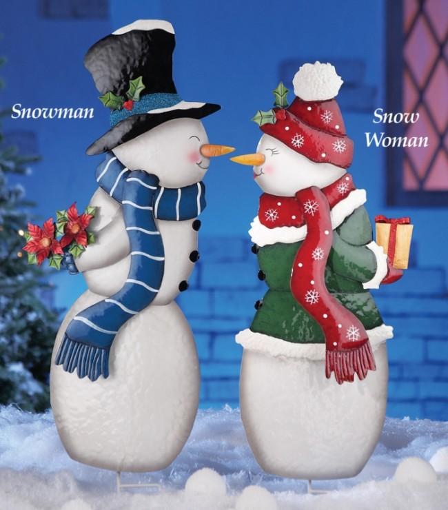 Kissing Snowman Couple Garden Stakes