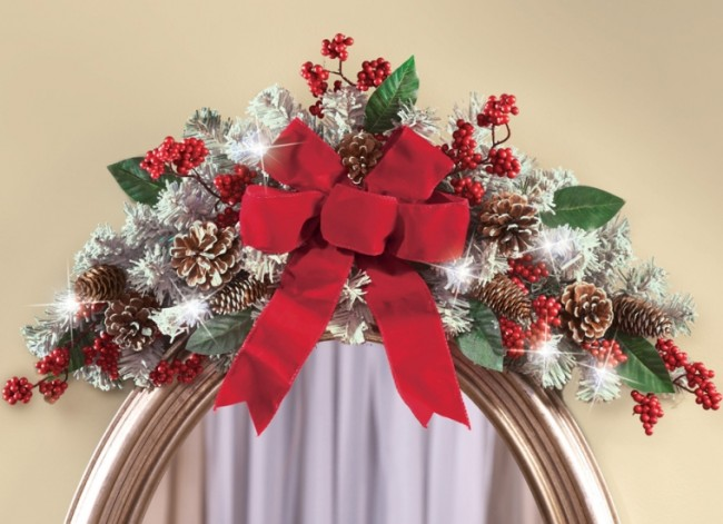 Lighted Holiday Frosted Pine Floral Swag Decoration