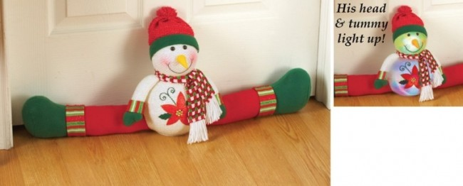 Lighted Snowman Door Draft Blocker