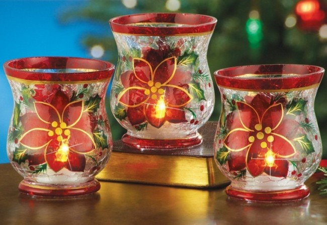 Poinsettia Flowers Crackled Glass Votive Candle Holder