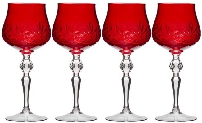 RED Color HAND MADE Old-Fashioned Wine Glasses