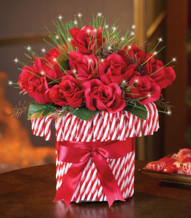 Red Roses Bouquet in Red and White Candy Cane Vase