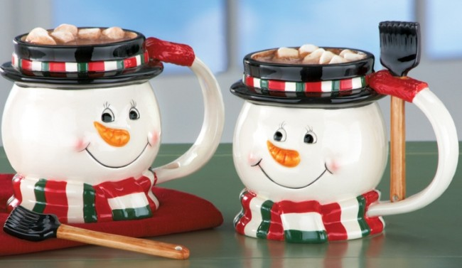 Snowman Mugs with Matching Mixing Spoons